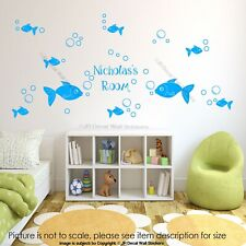 42 Bubble Fish Wall Stickers Personalised Name Nursery Room vinyl Wall Decals