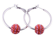 Stainless Steel Women Lady Hoop Earring with Red/Rose Pink Stripe Crystal Balls