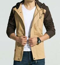 Mens Stylish Slim Fit Cotton Hooded Trench Coats Korean Mod Casual Long Jackets