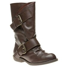 New Womens Blowfish Brown Aribeca Synthetic Boots Mid-Calf Buckle