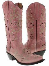 Womens Pink Python Inlay Rhinestone Western Leather Cowboy Boots Rodeo Cowgirl