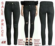 H&M Super Skinny Slim Fit Ripped Stretch Denim Ladies Jeans Black 50% OFF Uk