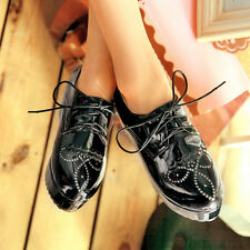 Fashion Womens Faux Patent Leather Flat Lace Up Oxfords Round Toe Shoes Creeper