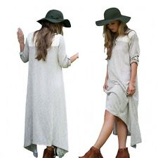 Vtg Sexy Women Plunge V Neck Lace Long Sleeve Asymmetric Loose Casual Long Dress