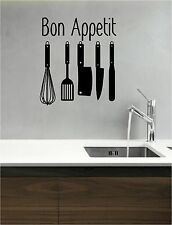 Bon Appetit vinyl wall art QUOTE sticker decal KITCHEN COOKING UTENSILS