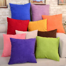 "New Suede Nap Solid Cushion Cover Home Decor Sofa Throw Pillow Case 18""x18"" IM"