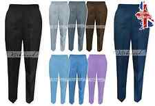 Ladies Half Elasticated Trousers Plus Size Pockets Work Office Wear Womens Sale