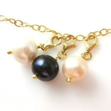 Gold plated Sterling Silver Bracelet Charm-Freshwater Pearl-Wire wrapped w/Clasp