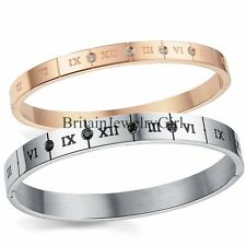 Men Women Fashion Roman Numerals Bracelet Elegant Stainless Steel Bangle W/CZ