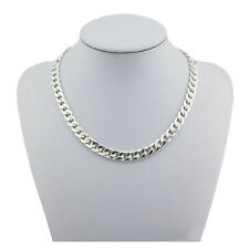 S925 Solid Sterling Silver Flat Cuban Curb Link Trace Necklace Chain Men's Women