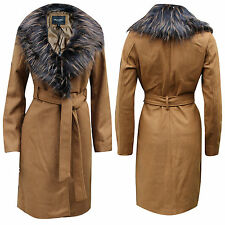 NEW LADIES BRAVE SOUL DETACHABLE FAUX FUR COLLAR LINED BOILED WOOL TRENCH COAT