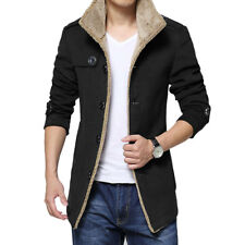 Men Button Down Front Pockets Fleece Lining Button-tab Epaulets Worsted Jacket