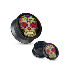 Sugar Skull Ear Gauges Plugs Pair Black Acrylic Stash Screw Fit Plugs