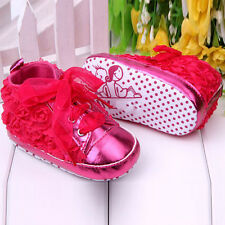 Girl Newborn Baby Toddler Infant Kid Soft Sole Flower Prewalker Shoes 0-12 Month