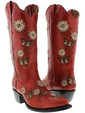 Womens Red 2 Butterfly Flowers Leather Western Cowboy Boots Rodeo Cowgirl New