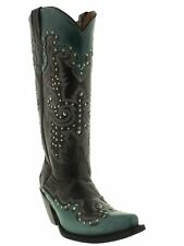 Womens Black Turquoise Tall Studded Leather Western Cowboy Cowgirl Boots Riding