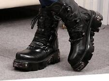 NEW Punk Rock MENS BLACK GOTH platform PUNK ROCK BAND military boots