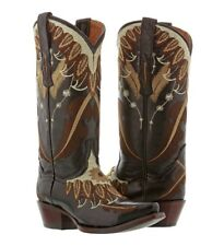 Womens Black Beige Leather Cowboy Cowgirl Boots Western Feathers Plumas Wings