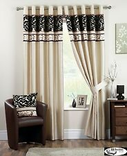 Coniston Ready Made Luxury Eyelet Fully Lined Curtains Black and Cream
