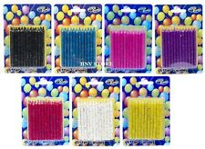Birthday Glitter Candles Assorted Colours Party Candles Pack of 24