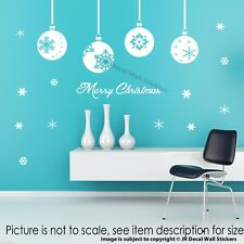 Xmas Baubles Wall Decal Snowflake Christmas Tree Wall Sticker Shop Nursery Decor