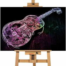 Neon Abstract Guitar Canvas Print - Art, Wall Print A1 / A2 / A3 Sizes