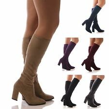 LADIES WOMENS STRETCH BOOTS FAUX SUEDE KNEE HIGH HEEL BLOCK WINTER SHOES SIZE