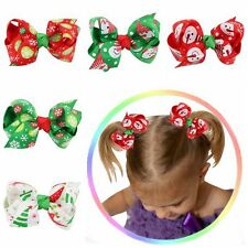 2Pcs Baby Girl Kid Boutique Grosgrain Ribbon Colorful Bow Hair Clip Xmas Gift