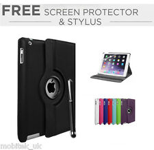 Leather Plain 360 Degrees Rotating Case Cover Stand For Apple iPad Mini 1, 2,3,