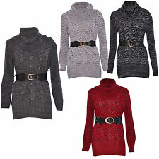 Women Ladies Cable Knitted Cowl Neck Belted Long Sleeve Jumper Dress Sweater Top