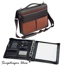 "SnapdragonIdeas Deluxe Zipped Around 1.5"" 3 Rings Napa Leather Nylon Binder"