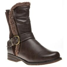 New Womens Lotus Brown Rink Synthetic Boots Ankle Zip