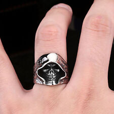 High-quality Mens Jewelry Vampire Skull 316L Stainless Steel Ring Sz 7-13