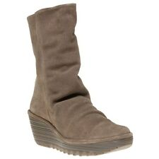 New Womens Fly London Taupe Yara Suede Boots Mid-Calf Zip