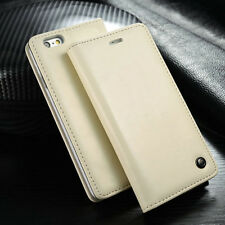 Luxury Leather Wallet Card Holder Flip Stand Case Cover For iPhone/Samsung White