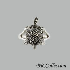 Sterling Silver Turtle Ring with Swiss Marcasite