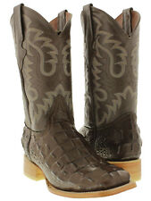 mens brown alligator crocodile back western cowboy leather boots rodeo square
