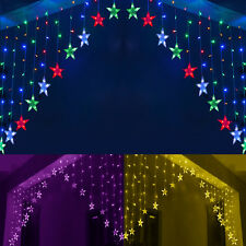 220V UK Plug V Shaped LED Icicle Lights Christmas Fairy Strings Curtain Hanging