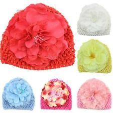 Baby Kids Girls Flower Knit Crochet  Warm Toddler Hat Cap Lot Colors Cute