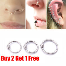 Surgical Steel Hoop Ring Piercing Ball Closure For Lip Ear Nose Eyebrow Nipple