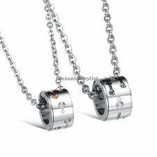 Forever Love His and Hers Lover Pendant Stainless Steel Necklace Valentine Gift