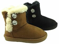 Girls Infant Snugg Ankle Boots Faux Suede Fur Lined Diamante Winter Warm Size
