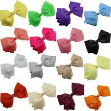 "12x 6"" Infant Baby Girls Toddler Big Hair Bow Alligator Clips Grosgrain Headband"