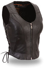 FMC Womens Black Leather Front Zipper Side-lace Motorcycle Biker Vest