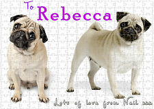 Personalised Pug Life Jigsaw Puzzle.Can add your Text.Cardboard Puzzle A4 -SA110