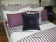 RALPH LAUREN - CLUB STRIPE PLUM PILLOW CASE SHAMS 100% COTTON OVER 60% OFF RRP X