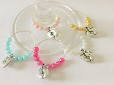 10 Tiny Toes Wine Glass Charms Baby Shower Wedding Favours Christening Gift