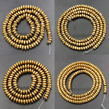 Gold Hematite Gemstone Rondelle Beads 16'' 2mm 3mm 4mm 6mm 8mm Smooth Faceted