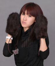 Ladies Womens Real Knitted Farm Mink Fur 6 Color Mittens Gloves Winter Gift