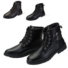 Fashion Mens Leather Fur Martin Snow Boots Military Combat Work Warm Lace Up